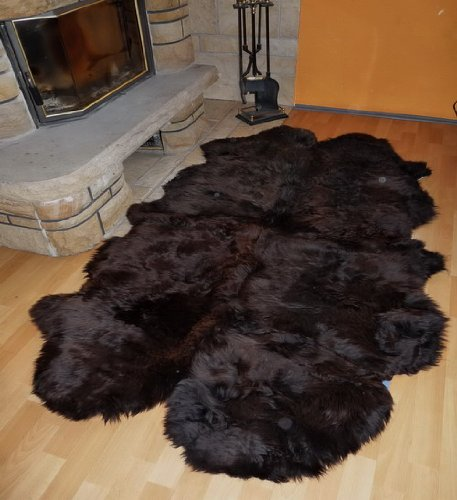 Schaffellteppich in Braun aus 4 Fellen