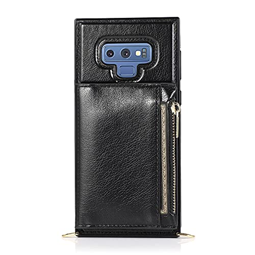 Bolso de un teléfono portátil Para Samsung Galaxy Note9 Case, cartera con cremallera Tarjeta de cartera Titular de la tarjeta Slot Cadena de Cadena Cadena de Charra Funda protectora a prueba de golpes