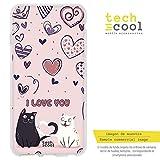 funnytech cover alcatel a5 led custodia in silicone (tpu) per alcatel a5 led [design esclusivo, stampa ad alta definizione] [i love you gatitos fondo rosa]