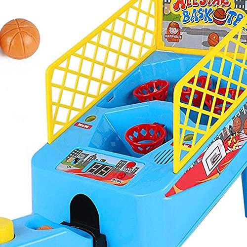 junmo shop Juego de baloncesto de mesa eléctrico, doble disparo 2 jugadores con 2 bolas, incluyendo marcador electrónico y LED fresco intermitente, adecuado para niños y niñas de 4 años o más
