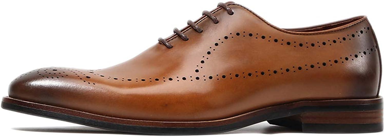 SDKHIN Mann's Leather Formal skor kontor vintage snidad brudgumherr skor Oxford affärsskor