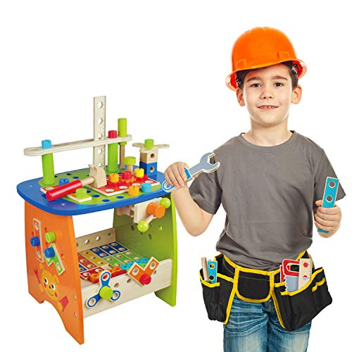 Ohuhu Tool Bench Set Kids Toy Play Workbench, Kids Wooden Tool Bench Workshop, Workbench with Tools Set (89 Piece Set), Wooden Construction Bench Toy for Boys Girls 3 Year Old and Up