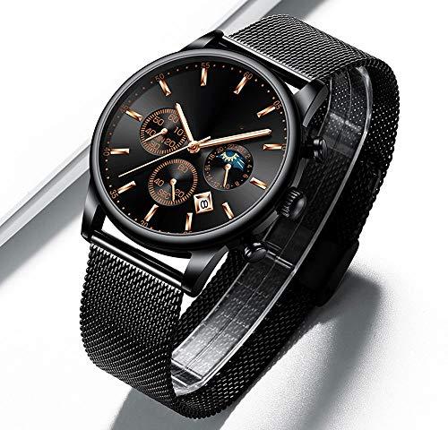 Voigoo Reloj Hombre Mann-Uhren Top-Marke Wasserdicht Geschäft Datum Fenster Armbanduhr Mann Mesh-Bügel-beiläufige Quarz-Uhr