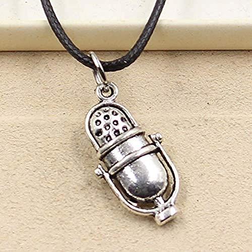 POIUIUYH Co.,ltd Collar de Plata tibetana con Colgante de micrófono, Collar, Gargantilla, Encanto, cordón de Cuero Negro, Precio de fábrica, joyería Hecha a Mano