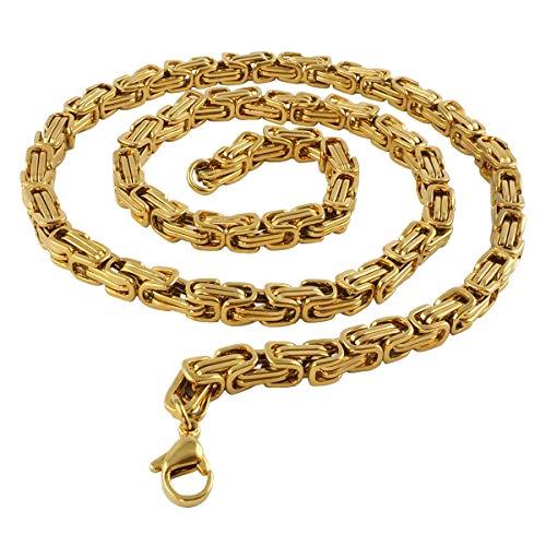 König Design 5 mm Königskette Armband Herrenkette Männer Kette Halskette Panzerkette, 21 cm Gold Edelstahl Ketten
