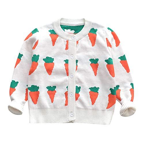 Kobay Kobay Kleinkind Baby Mädchen Lange Ärmel Karotten Drucken Pullover Strickjacke(12-18M,Weiß)