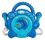 Idena Sing Along 40284 - Reproductor de CD para niños, portátil y a Pilas, con Pantalla LED, antichoque y Dos micrófonos para Karaoke, Color Azul Claro