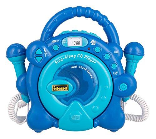 Idena 40284 CD Player Sing Along für Kinder, tragbar und batteriebetrieben, mit LED Display, Anti-Schock und zwei Mikrofonen für Karaoke, hellblau