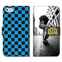 chatte noir iPhone12 手帳型 PUレザー iPhone 12 ケース 手帳型 SK8 スケボー チェック柄 ストリート フォト A 手帳ケース