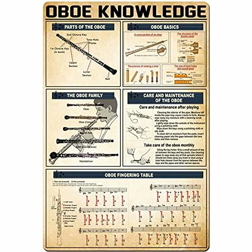 DJNGN Oboe Knowledge - Cartel de metal con diseño de oboe para mesa de dedos