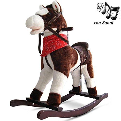 BAKAJI Cavallo a Dondolo per Bambini con Suoni Realistici Nitrisce e Muove la Bocca Struttura in Legno e Tessuto Peluche di qualità Giochi Infanzia (Marrone Scuro)