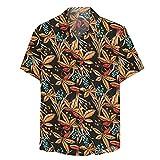 Camisa Hawaiana para Hombre Camisas Hawaianas para Hombre Camisas con Botones Hawaianos Camisa con Botones con Estampado De Hojas De Flores Y Flores Camisa Casual De Secado Rápido De Manga Corta Pa
