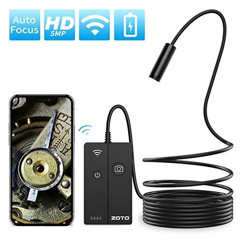 ZOTO WiFi Endoskopkamera, Kabelloses Autofokus Inspektionskamera, 5 Megapixel 1944P HD IP68 wasserdichte Halbsteife Kabel Handy Endoskop Kamera mit licht 4 LEDs für Android,iPhone,Tablet