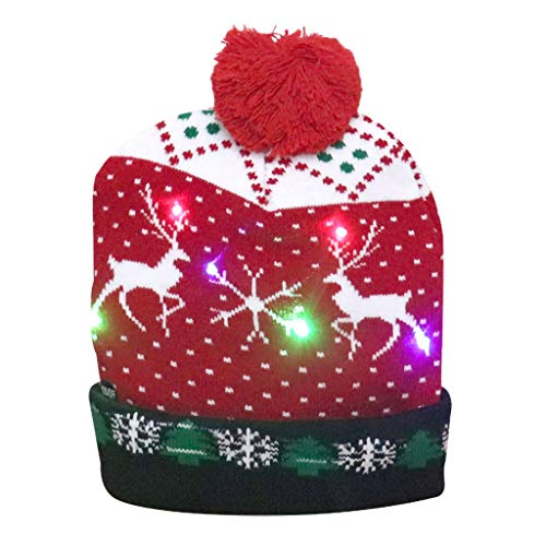 Koly-Hundebett Weihnachtsmütze LED Nikolausmütze mit 3 bunten Lichtern,Warme...