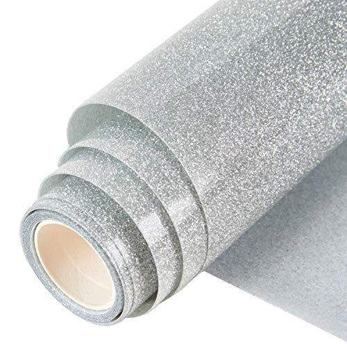 Topmail 160x25cm Glitzer Transferpapier Transferfolie Aufbügeln Textil Folie Wärmeübertragung Folie Vinylfolie für Kleider Textil Silber