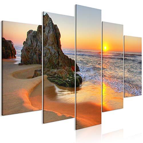 murando Quadro Spiaggia Mare 100x50 cm 5 pezzi Stampa su tela in TNT XXL Immagini moderni Murale Fotografia Grafica Decorazione da parete Paesaggio c-B-0463-b-m