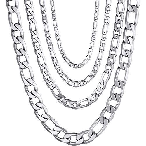 PROSTEEL 316L Edelstahl Figarokette Halskette für Herren/Damen, Schwarz/18 Karat Echtgold, 4 mm bis 13 mm, 35,6 cm bis 76,2 cm, mit Geschenkbox, Edelstahl, silber, 01-PSN3104G-20