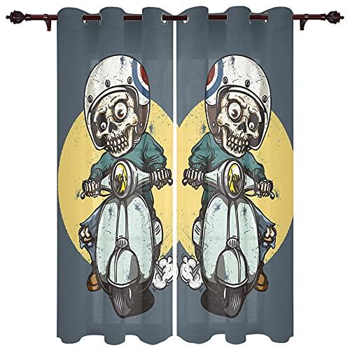 QPCGRA Cortinas Modernas Dormitorio Chico Calavera Azul Gris Amarillo Verde Luna 85x200cm x2 Cortinas Opacas Térmicas Aislantes Frío Calor Ruido Luz Rayos para Salón Oficina Dormitorio