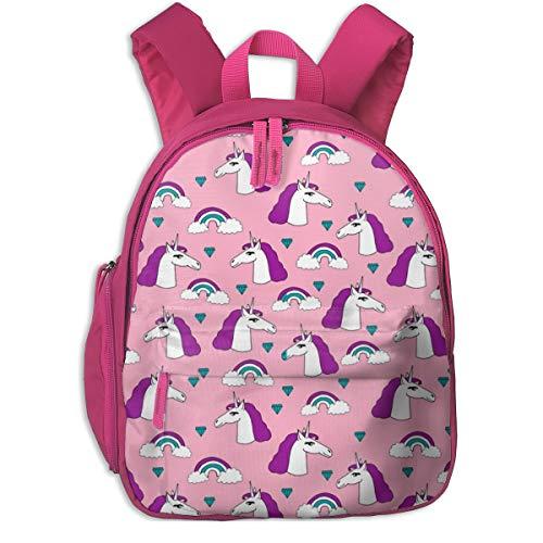 Mochila Infantil niña,Unicorn Unicorns Pink and Purple Girls Rainbow Sweet Little Girls Pastel Purple_3627 - Andrea_Lauren, para escuelas de niños Ropa de Oxford (Rosa)