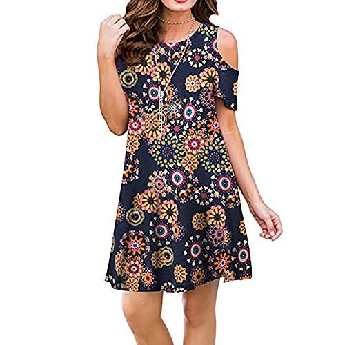 EMPERSTAR Moda Damska Zimne Ramię Krótka Mini Sukienka W Kwiaty Bluzka Lato Casual Luźne Sukienki Na Plażę Topy Czarny S