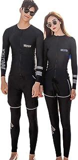 (ジュタオピン)ペア水着 おしゃれ ペアルック カップル 水着 長袖 大きいサイズ ペア カップル ラッシュガード 前開き シュノーケリング ダイビング 水着 体型カバー 日焼け止め 夫婦 お揃い 水着 ブラック 黒