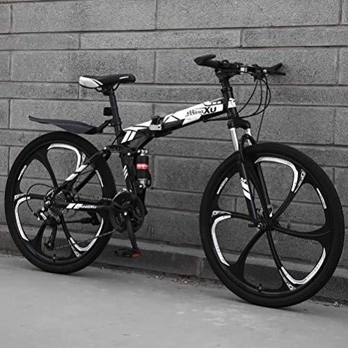 ZEIYUQI Bicicleta Portátil para Adultos Plegable 24 Pulgadas Marco De Acero De Alto Carbono Adecuado para Montar Al Aire Libre,Blanco,24 * 26''* 6