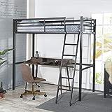 FURNISH 1 lit Mezzanine Enfant avec sommier Industriel en métal Noir époxy - l 90 x L 190 cm
