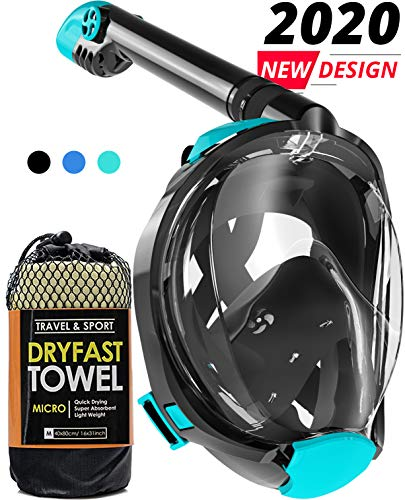 cozia design Full Face Snorkel Mask - 180° Panoramic View Scuba Mask, Safe Breathing System for...
