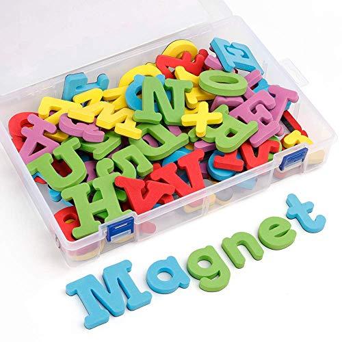 Coogam Lettere e Numeri magnetici della Schiuma 82 Pezzi di Grandi Dimensioni Lettere maiuscole ABC 123 dei magneti del Frigorifero Forti di Alta qual