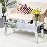 SSLine Mirrored Coffee Table,Modern Rectangle Accent Tea Table Sofa Desk with 3 Drawers for Living Room Bedroom (Silver-2)