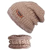 ANVEY Unisex Invierno Gruesa Beanie Hat Bufanda Conjunto Slouchy Warm Snow Knit Cap