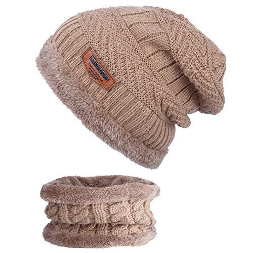 ANVEY Unisex Winter Dick Beanie Hut Schal Set Slouchy Warm Schnee Knit Cap Braun