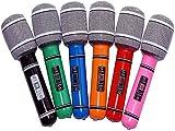 Hinleise Micrófono inflable de plástico de 24 cm para fiesta de juguete para niños, 6 piezas (color al azar)