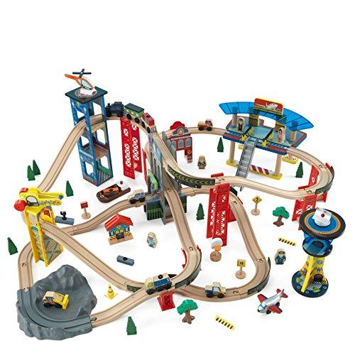KidKraft 17809 Circuit de train en bois Super Highway, jouet enfant incluant 80 pièces