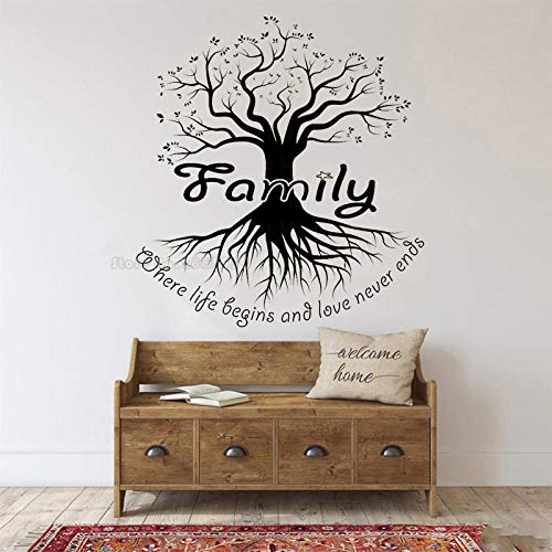 whmyz Familie Big Tree Silhouette Wandaufkleber Wohnzimmer Schlafzimmer Wandtattoos Familienphrasen Poster Home Art Decor Wallpaper-H622 schwarz_M 84cm x 91