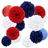 Decoración de Fiesta Pompom Flores,Abanicos de Papel Bola,Kit de Fiesta de Pompones,Papel para Colgar Bola Decoración,pompones de papel,Flores Decoracion Cumpleaños (18 set) (Rojo azul blanco)