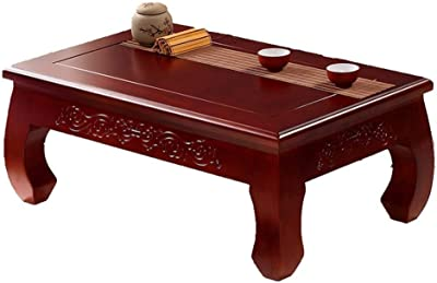 Solid Wood Tatami Coffee Table Continental Coffee Table Table Solid Wood Bay Window Table Living Room Bedroom Balcony Table Low Table On The Floor Durable (Color : Walnut, Size : 60x40x28cm)
