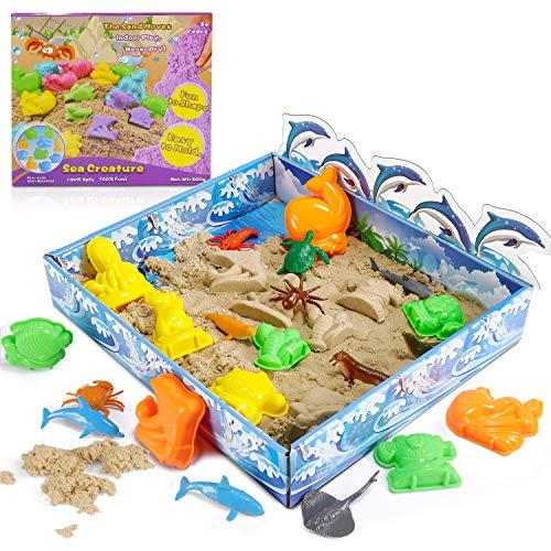 Jugar Arena Arena Mágica 3D Play Sand 500g Juego Súper Sand Magic Super Playset Natural de Arena con 10 Moldes Regalo No Tóxicos Juguetes de Arena para Niños