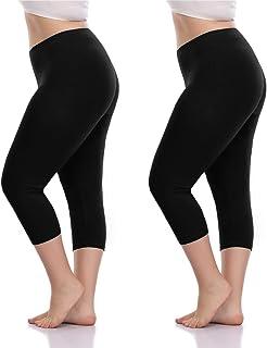 45f762664f VOGUEMAX Women s Capri Leggings Plus Size Stretch and Comfy High Waisted  Three-Quarter Leggings Plus