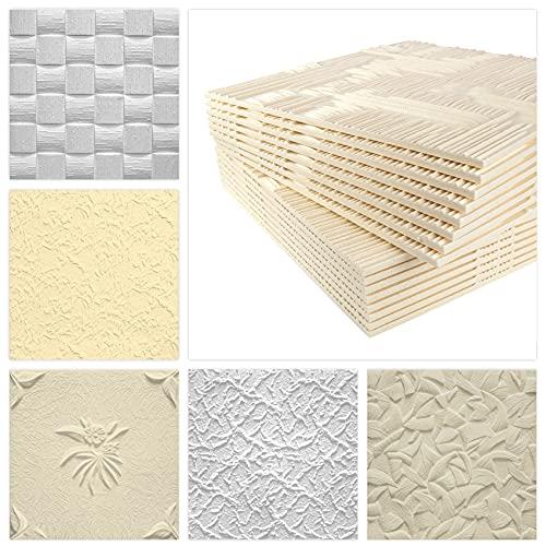 Deckenplatten aus Styropor EPS - Deckenpaneele leicht & robust im modernen Design - (10QM Sparpaket LEN WEISS 50x50cm) Deckenplatte Verkleidung weiß