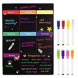 MoKo Calendario Magnético de Frigorífico con 8 Bolígrafos de Colores, Planificador Magnético de Refrigerador para Proyecto Estudios Exámenes Tareas Dietas y Lista de Compra, 16'x12' - Negro