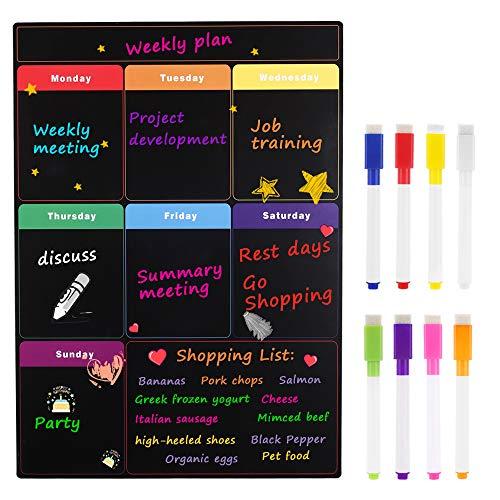 MoKo Magnetischer Wochenplaner, 16 x 12 Trocken Abwischbarer Wochenkalender Planner Schmutzabweisender Menüplaner Magnettafel für Einkaufsliste Kühlschrank mit 8 Farbkreidemarkern - Schwarz