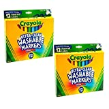 Crayola Rotuladores lavables ultra limpios de 12 unidades (paquete de 2).