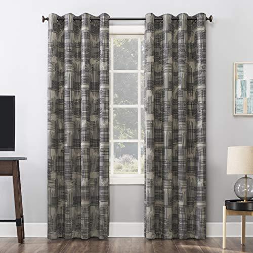 "Sun Zero Marcelo Crosshatch Thermal Extreme 100% Blackout Grommet Curtain Panel, 52"" x 84"", Black/Linen"