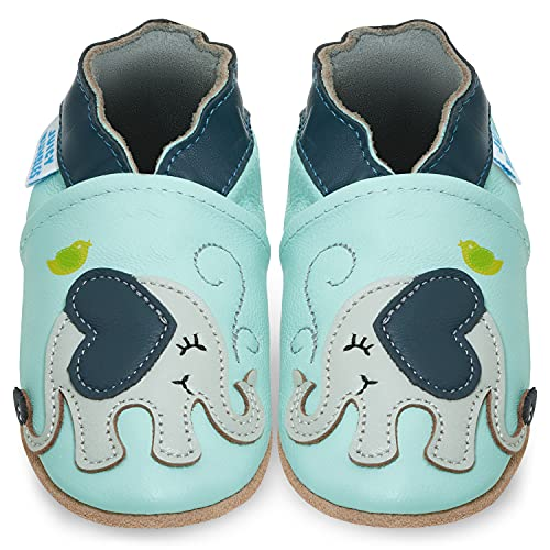 Juicy Bumbles Lauflernschuhe - Krabbelschuhe - Babyhausschuhe - Blauer Elefant - 12-18 Monate (Größe 22/23)