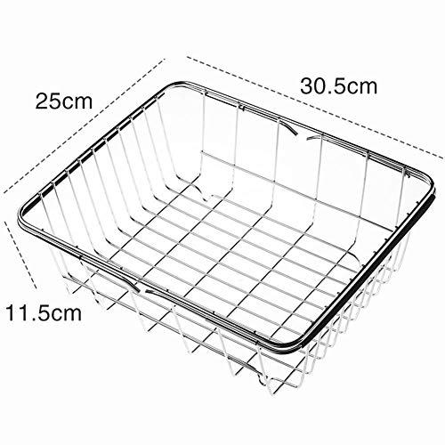 Edelstahl-Geschirrspüler Erweiterbar über Waschbecken Oder In Abtropfflächen Küchenhalter,30.5x25x11.5cm