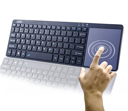 Gosin Wireless Keyboard, Ultrathin All in One Metal Bluetooth Keyboard Touchpad for Mobile and Tablet with Windows and Android,Touchpad do not Work with Smart TV & Home Theater & iOS (Black)
