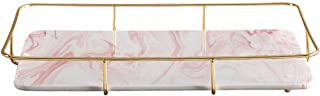 ALPS Marble Jewelry Tray with Polished Gold Metal Handles, Acrylic, Pink-1, monolayer