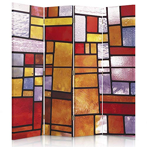 Feeby Frames. Roomdivider, gedrukt op canvas, linnen wandscherm, decoratieve scheidingswand, ABSTRACTION, geometrie, KLEURRIJK glas, ORANJE, ROOD 145 x 180 1-side.