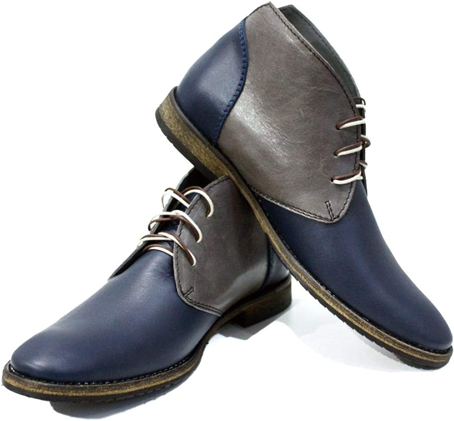 Peppeshoes Modello Parella - Handmade Italian Leather Mens color Navy bluee Ankle Chukka Boots - Cowhide Smooth Leather - Lace-Up